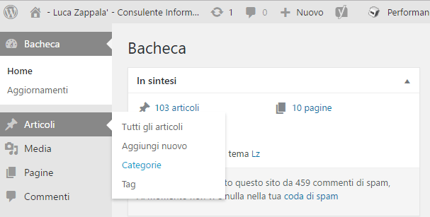 Inserimento categorie wordpress