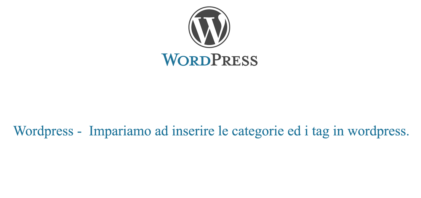 Inserire categorie e tag in wordpress