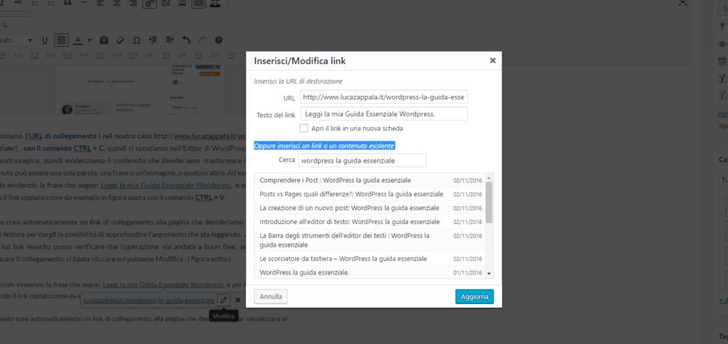 Modificare link in wordpress
