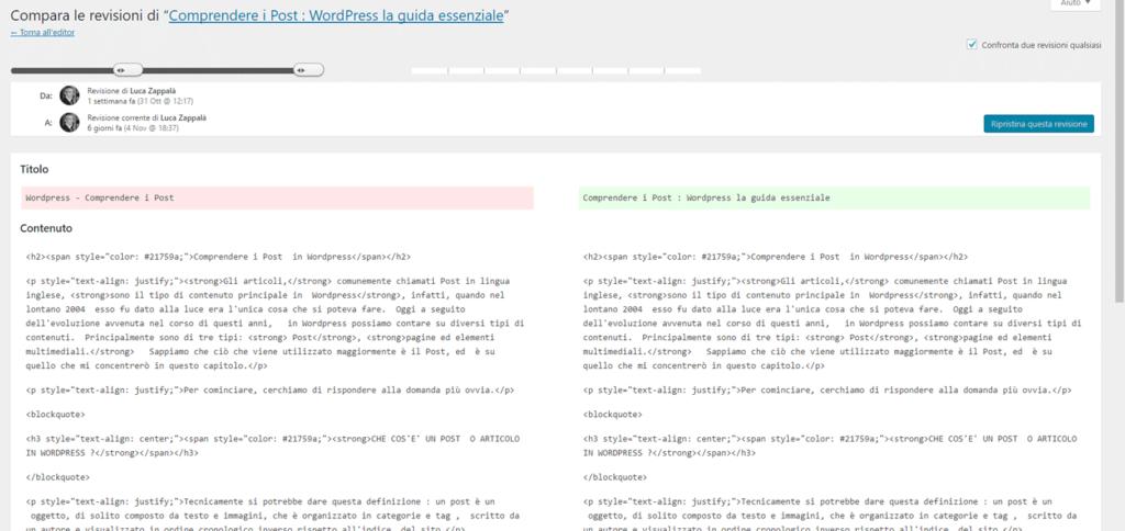 Revisioni in WordPress figura 3